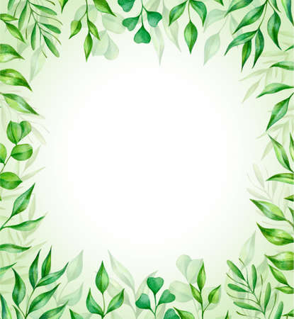 Watercolor frame with green leaves. Perfect for design of greeting card, logo, invitation, posters