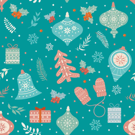 Christmas and Happy New Year seamless pattern with Christmas toys and gifts. Trendy retro style. Vector design template 矢量图像