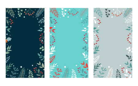 Merry Christmas banners with stylized winter branches.