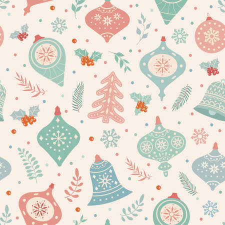 Christmas and happy new year seamless patterns. Retro fashion style.