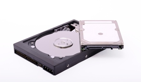 Hard drives on a white background Stock Photo