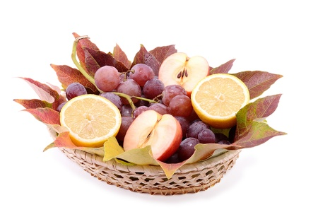 Fruit bowls on white background photo