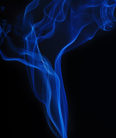 Blue smoke on black background, detail