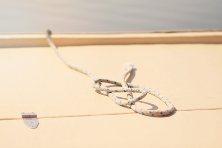 sailboard: Rope on boat, detail Stock Photo