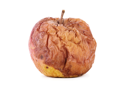 uneatable: Rotten apple isolated on a white background Stock Photo