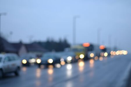 multiple lane highway: Blurred photo of evening traffic, detail