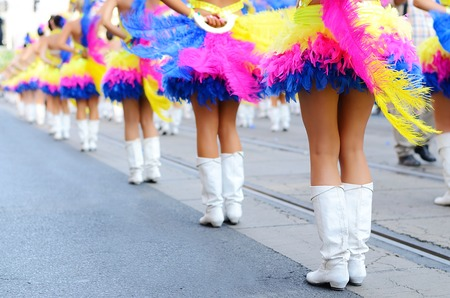 only teenage girls: Pretty drum majorettes on the carnival, detail