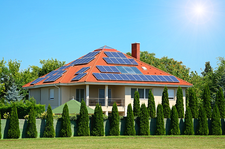 solar roof: Green renewable energy with photovoltaic installations on the roof