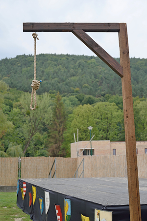 gallows: Gallows on a sunny day with forest on the background