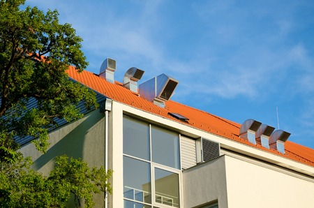 axial: Industrial air conditioner fan on the roof