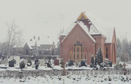crematorium: Crematorium in the cemetery in a foggy winter day