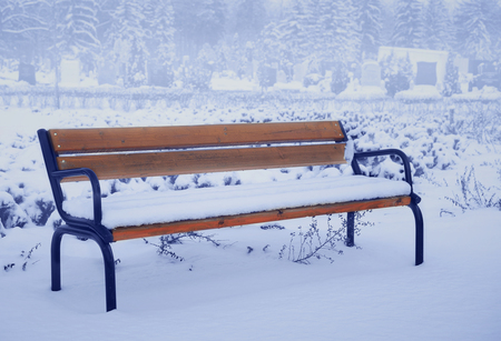 blue tone: Bench in the cemetery in foggy winter day, blue tone Stock Photo