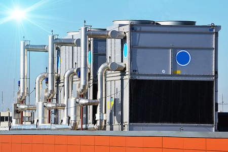 Industrial air conditioning unit cooling system on the roof of a building
