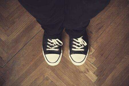 carpet clean: Selfie of shoes on the floor. Vintage view