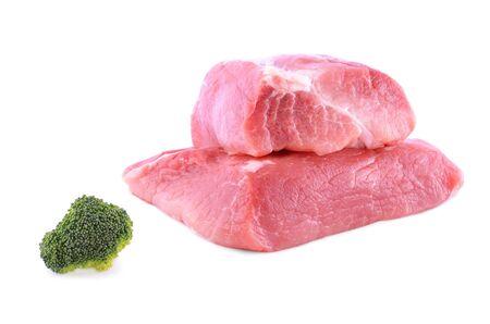 slab: Fresh beef slab isolated on a white background