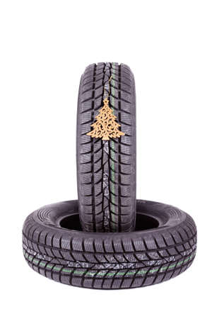 winter tires: Winter tires isolated on white a background Stock Photo
