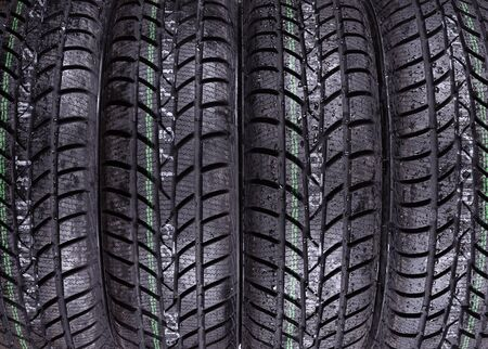 winter tires: Wet, winter tires texture for background Stock Photo
