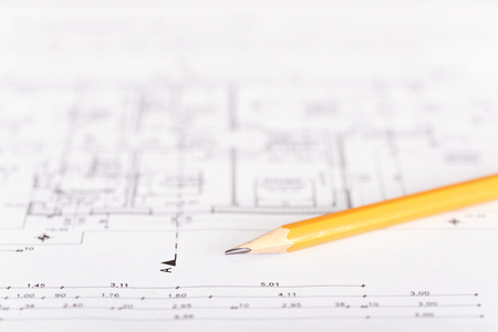 grafit: Graphite pencil on a plan Zdjęcie Seryjne