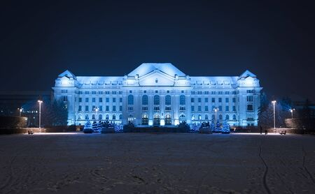 winter evening: University of Debrecen a winter evening