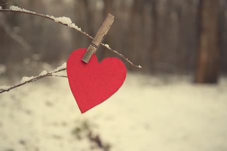 En forme de coeur sur une branche enneigée le jour d'hiver