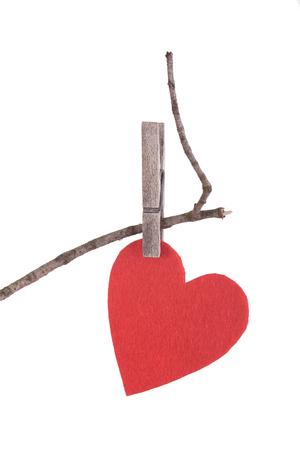 matrimonio feliz: Corazón rojo en una rama seca. símbolo del amor Foto de archivo