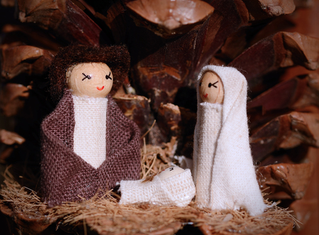creche: Christmas creche with Joseph and Mary