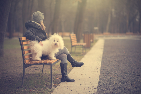Dog with owner in the park, vintage photo