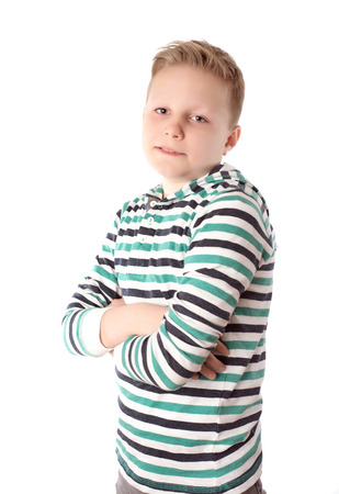 blond boy: Photo of adorable young boy over the white