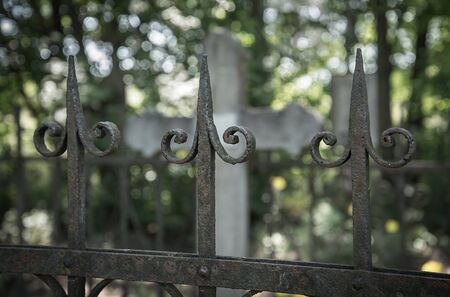 Ornate cast iron fence in the cemetery