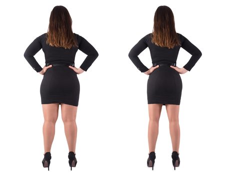 Womans body before and after weightloss on white background. Health care and diet concept.