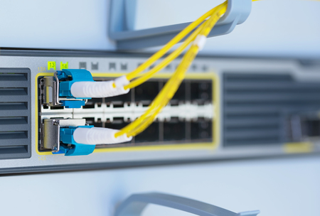 Optical cable in rack cabinet. Closeup photo