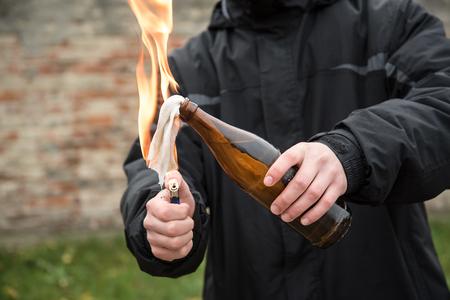 Man attack with molotov cocktail in public area