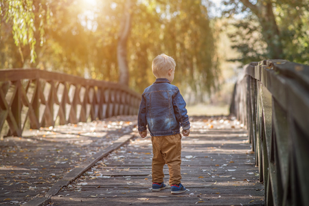 Adorable little boy on the wooden bridge in the nature Zdjęcie Seryjne