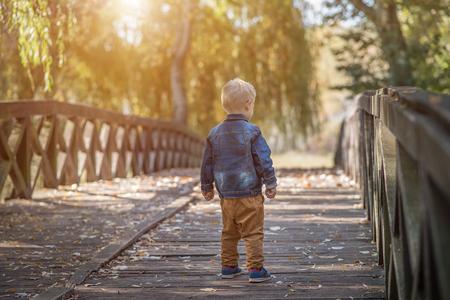 Schattige kleine jongen op de houten brug in de natuur Stockfoto