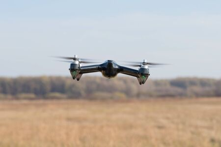 Closeup photo of a flying drone. Drone photo