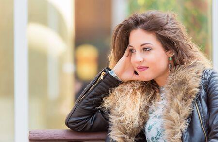Closeup portrait of a beautiful woman. Outdoor portrait