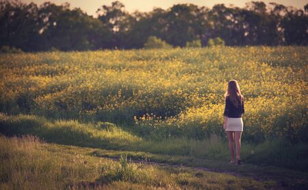 Beautiful woman walking in rapeseed field. Soft toned photo