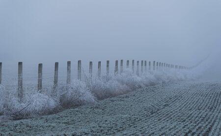 Frosty fence in cuntryside a foggy day 写真素材