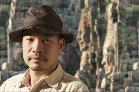 Traveler at ancient ruins