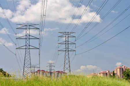 high voltage pylons in suburb