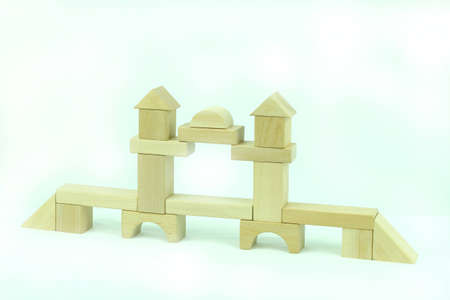 Toy block tower bridge