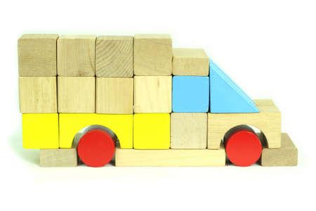 Toy blocks truck Stock Photo