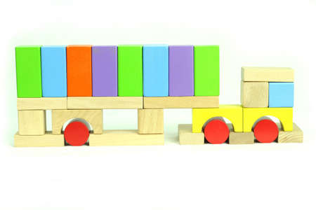 Toy blocks articulated truck Stock Photo