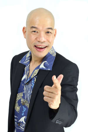 Asian man pointing