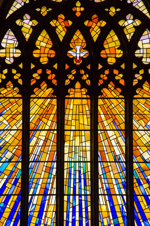 doves: Stained Glass Church Window Stock Photo