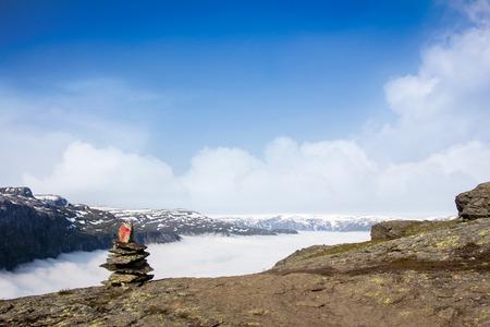 cairn: Stone Cairn on Norwegian Mountain