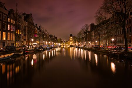 Canal in Amsterdam, the Netherlands at night
