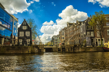 Traditional old buildings in Amsterdam, the Netherlands Banco de Imagens
