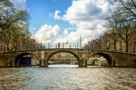 Bridge over canal in Amsterdam, the Netherlands Banco de Imagens