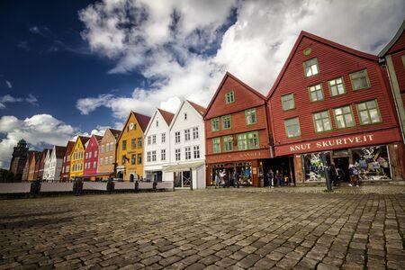 Famous Bryggen street in Bergen, Norway